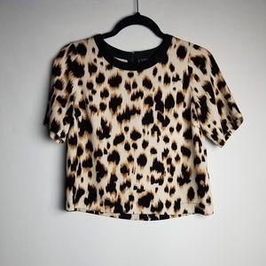 TOPSHOP Leopard Black back zipper crop top